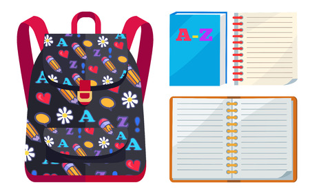 Backpack for Kids with ABC Open Copybook Vector 向量圖像