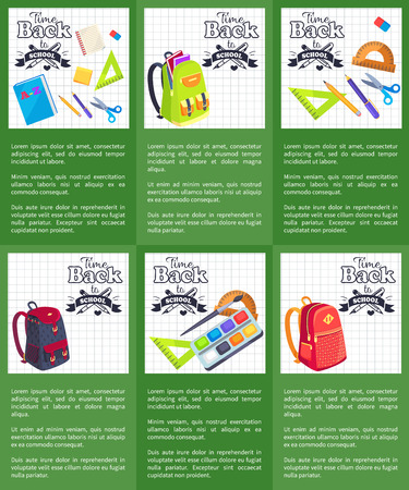 Time Back to School Posters with Schoolbags Books Illustration