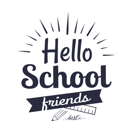 Hello School Friends Sticker Isolated on White