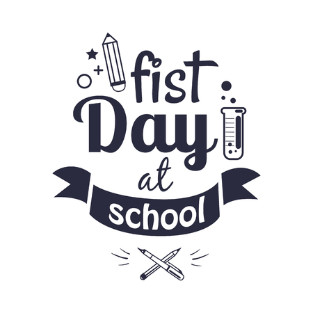 First Day at School Sticker Isolated on White