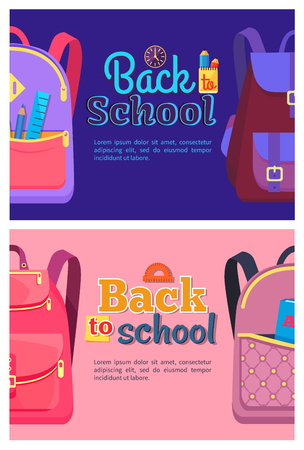 Back to School Posters with Backpacks for Children