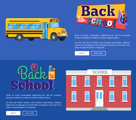 Back to School Set of Banners on Blue Background