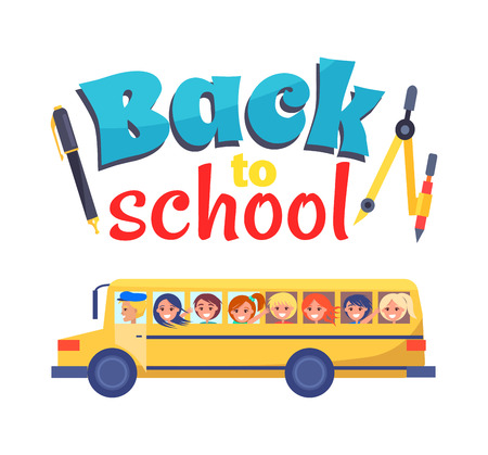 Back to School Poster Stationary Itema and Bus Illustration