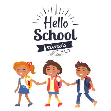 Hello School Friends Sticker Isolated on White