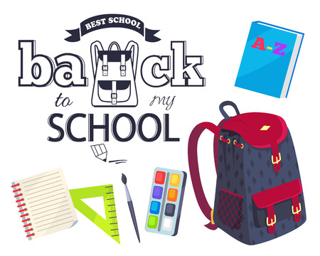 Back to My School Cartoon Style Sticker with Bags Illustration