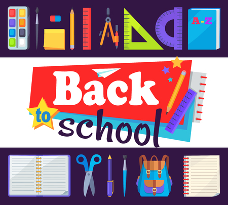 Back to School Banner with Learning Accessories
