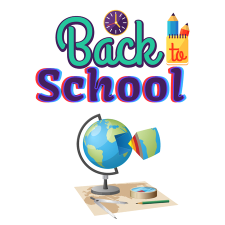 Back to School Geography Sticker Isolated on White