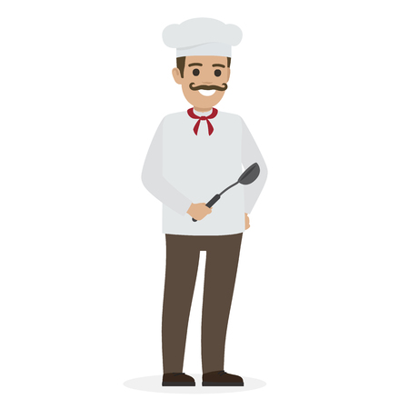 Chef Food in White Tunic and Toque Holds Ladle Illustration