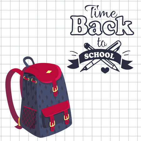 Time Back to School Poster Rucksack on Leaflet 版權商用圖片 - 90236152