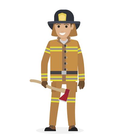 Vrolijke brandweerman in beschermende pak met bijl Stock Illustratie