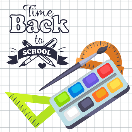 Time Back to School Poster with Pens, Stationery Illustration