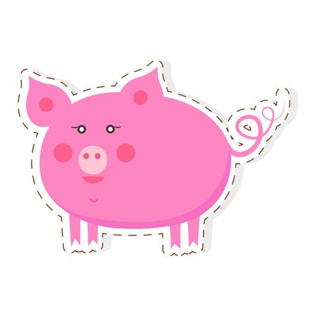 Cute Piggy Cartoon Flat Sticker or Icon 向量圖像