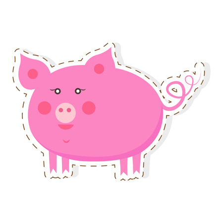 Cute Piggy Cartoon Flat Sticker or Icon Illustration