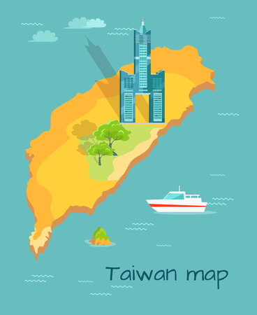 Cartoon Taiwan Map with Famous Tuntex Sky Tower