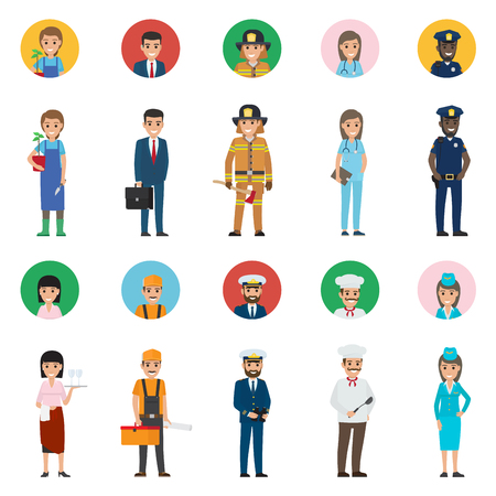 Concept of Professions. Full-length and Round Icon