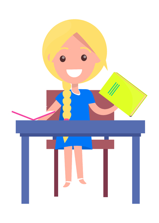 Learning Banner with Blonde Girl with Textbook Иллюстрация