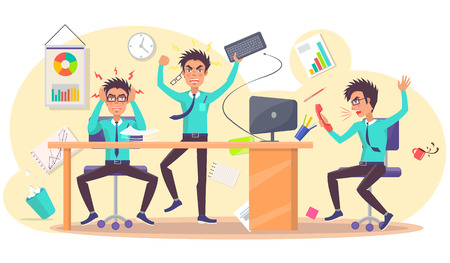 Angry Person at Work of Annoyed Businessman Illustration