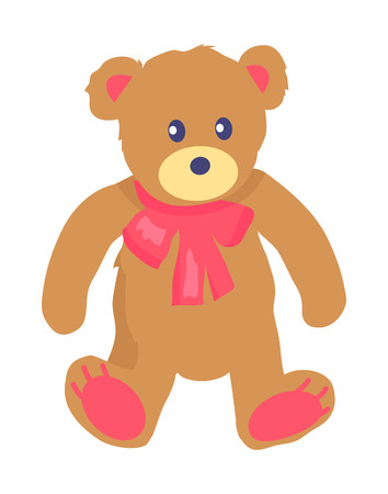 Vector Illustration of Toy Teddy Bear with Baw