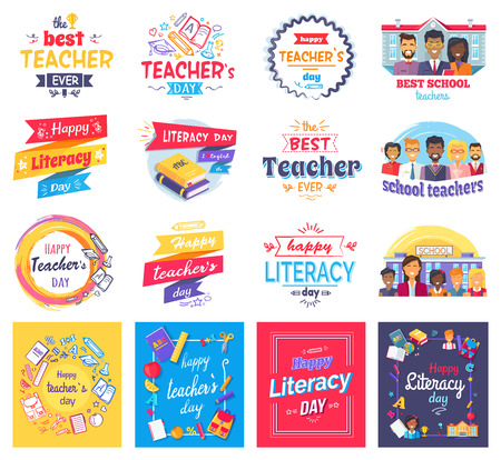 Literacy and Teachers Day Isolated Stickers Set