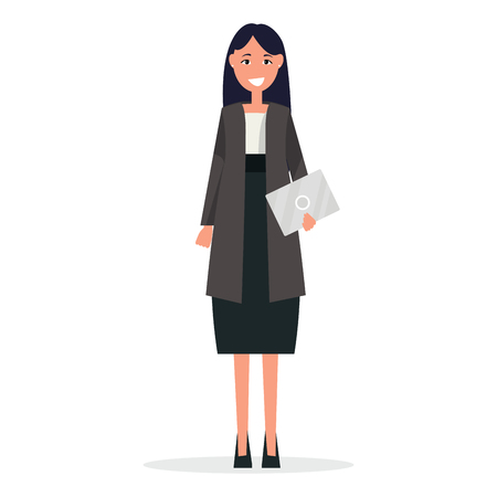 Businesswoman in White Blouse and Black Skirt Suit Illustration