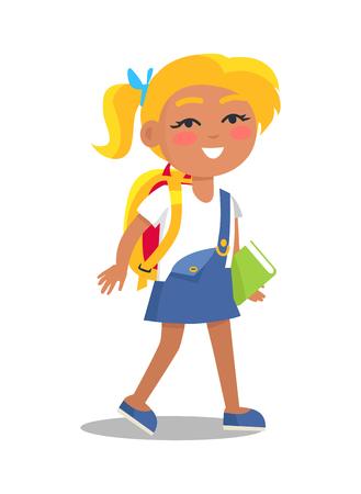파란색과 흰색 색 유니폼 여학생 일러스트