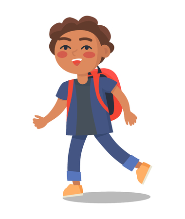 Smiling Kid in Blue Jacket and Jeans with Rucksack Illustration