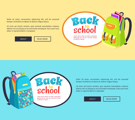 다시 학교로 포스터 오픈 Schoolbag, 책과 함께 일러스트