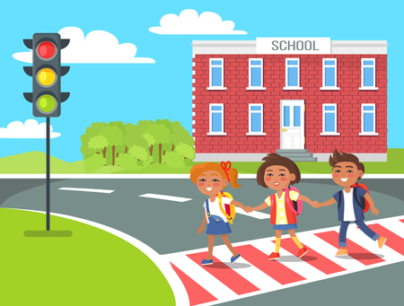 Pupils go Home After Classes Crossing Pedestrian