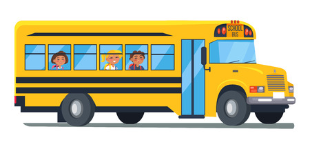 School Bus with Kids Sitting Near side view