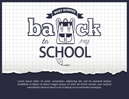Back to my School Black-and-White Isolated Sticker Illustration