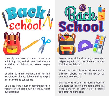 Terug naar school posters instellen met plaats voor tekst Stock Illustratie
