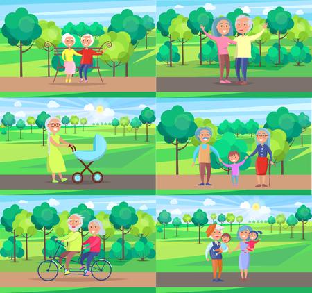 Mature People Together Grandparents Sit Ride Walk Illustration