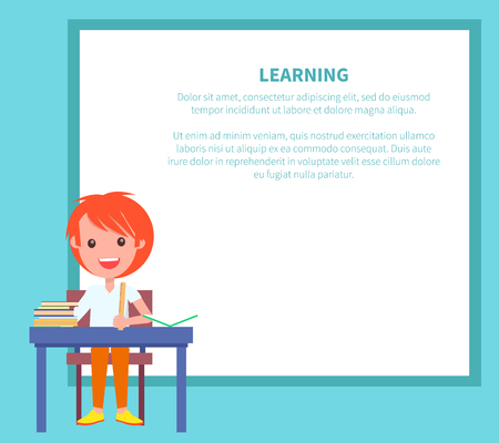 Learning Banner with Redhead Boy with Textbook Reklamní fotografie - 90236179