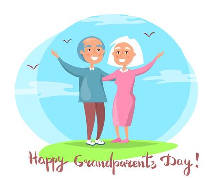 幸せな祖父母の日カップル一緒にアウトドア