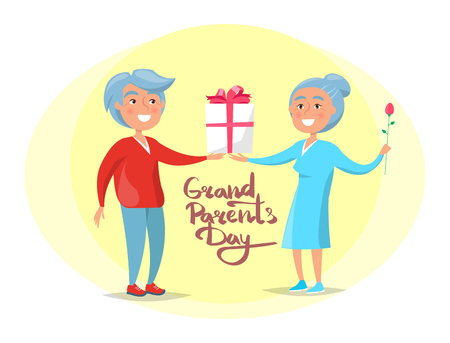 Grandparents Day Senior Couple Give Present Vector Illustration