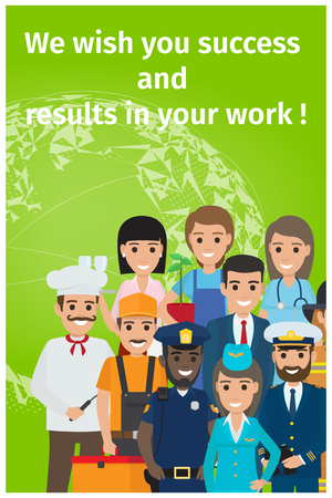 Greeting card on green background. Vector illustration of gardener and mariner, stewardess nurse, policeman and builder, chief, fireman businessman. Standard-Bild - 90257321