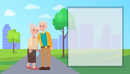 Grandma and Grandpa Vector in City Park