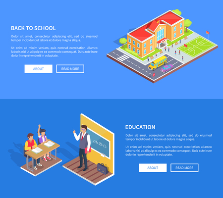 Back to School Posters with Isometric Illustration Ilustração