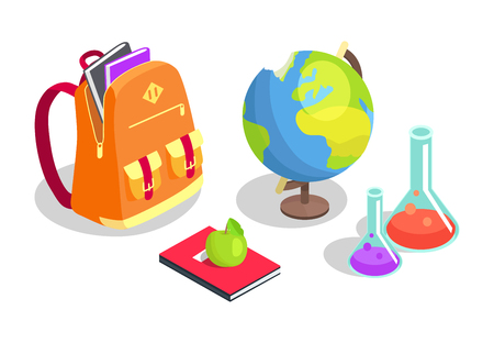 学校のバックパック Full of Books、化学フラスコ  イラスト・ベクター素材
