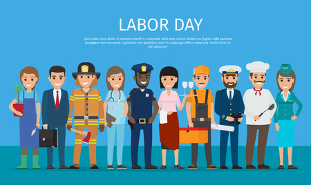 Labor Day Worker Isolated on Blue Cartoon Drawing