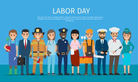 Arbeid dag werknemer geïsoleerd op blauwe Cartoon tekening