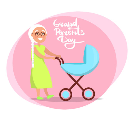 Grandparents Day Senior Lady with Pram Vector