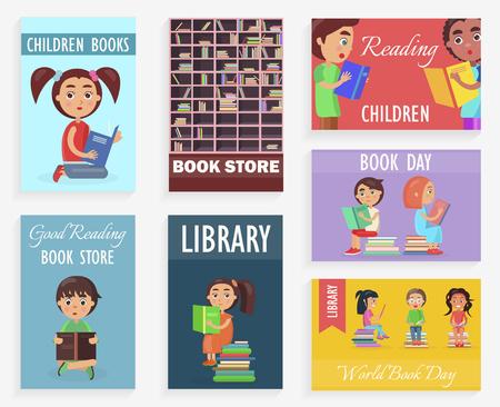 Weltbuchtag in der Kinderbibliothek der Buchhandlung Standard-Bild - 90237134