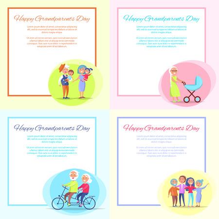 Happy Grandparents Day Posters Set Senior Couple Illustration