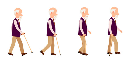 Old Man Process of Movement Colorful Vector Set