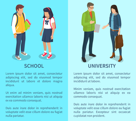 School and University Set of Posters with Text Illustration