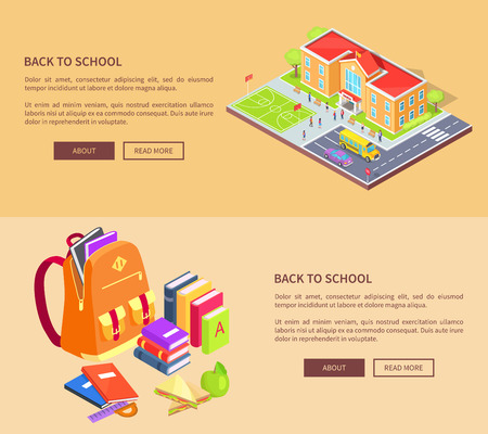 Back to School Posters with Building and Supplies Banco de Imagens - 90140423