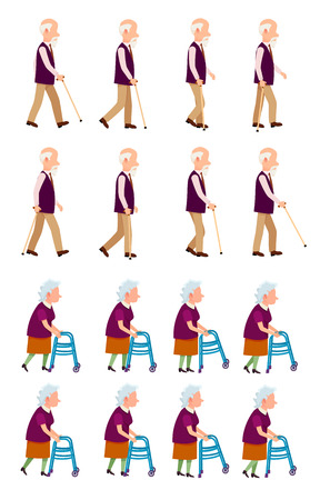Grandparents Grandpa and Grandma Isolated Set Reklamní fotografie