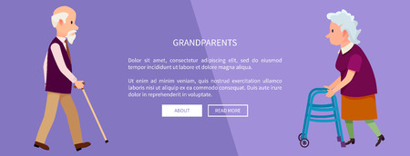 Grandparents Web Banner with Grandpa and Grandma Banco de Imagens