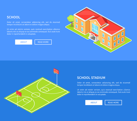 Schulstadion und Bildungseinrichtung 3D Standard-Bild - 90520666